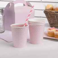 Polka Dot Pink Paper Cups (8)